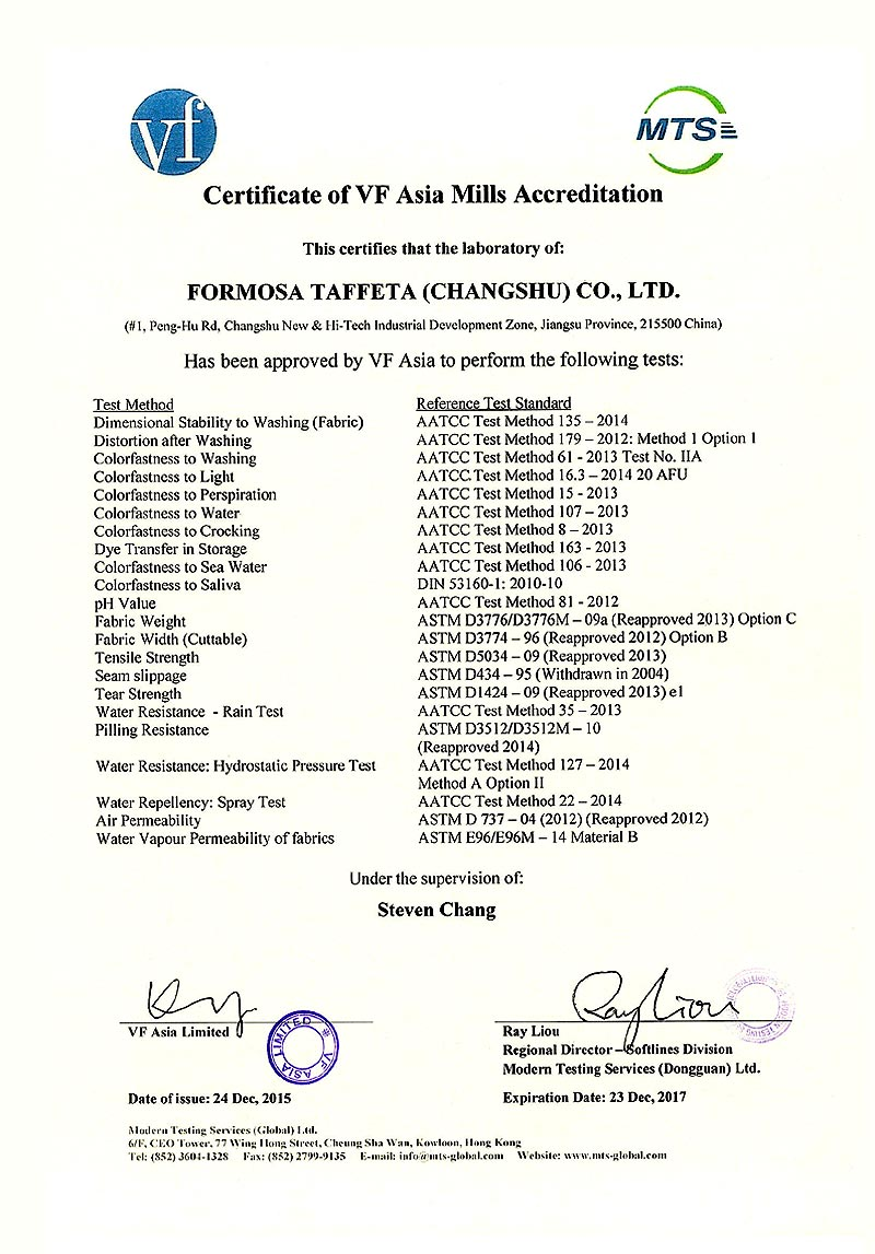 FTC VF Laboratory Certificate for Changshu
