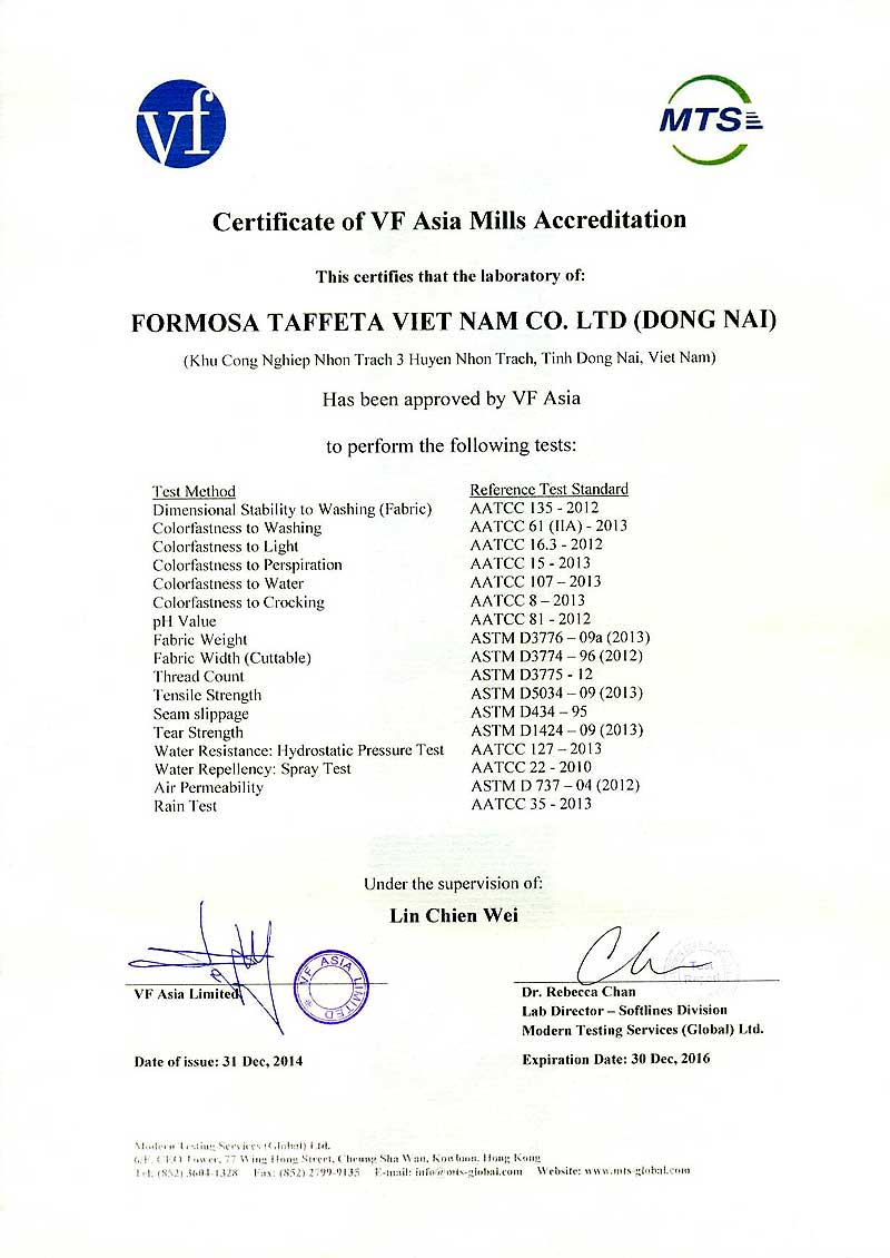 FTC VF Laboratory Certificate for Dong Nai