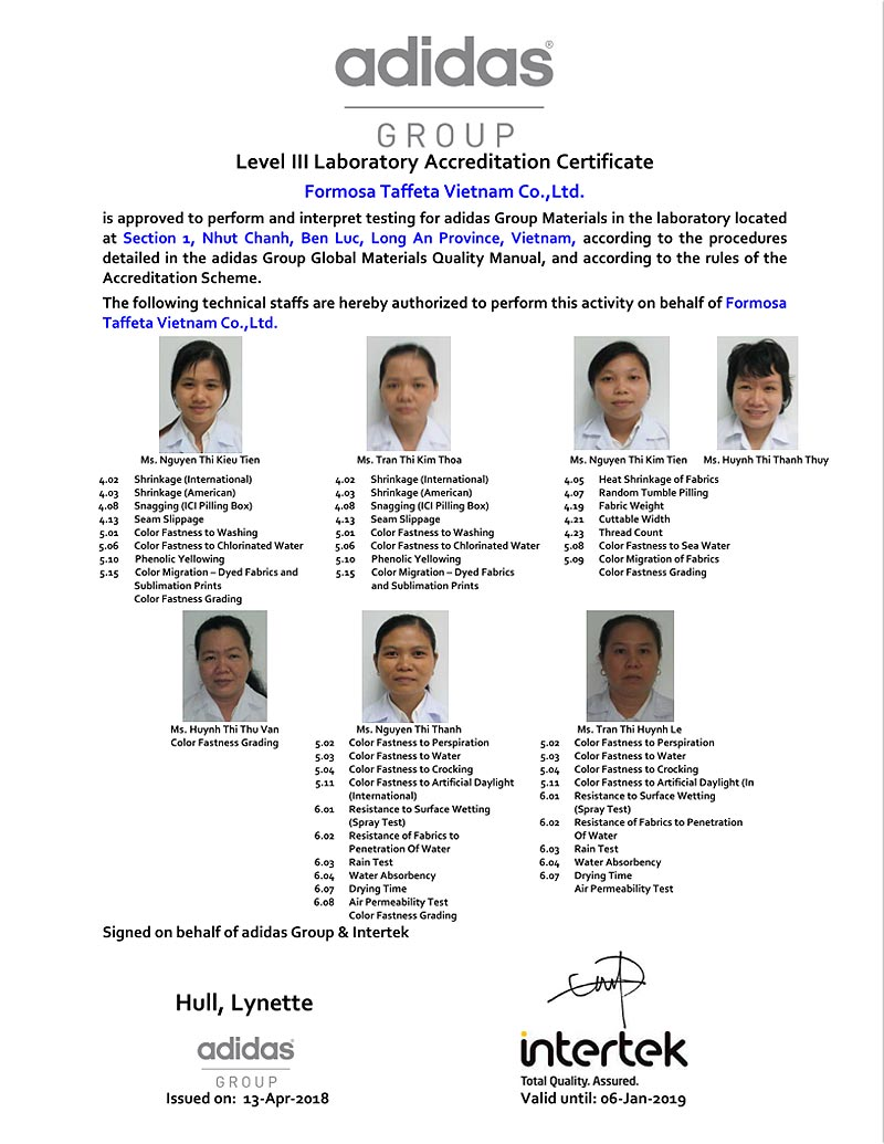 adidas Certificate for Long An in Vietname