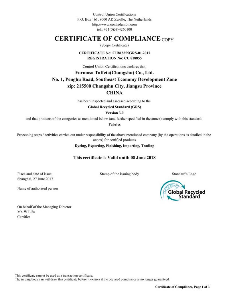 Global Recycle Standard Certificate for FTC China Changshu