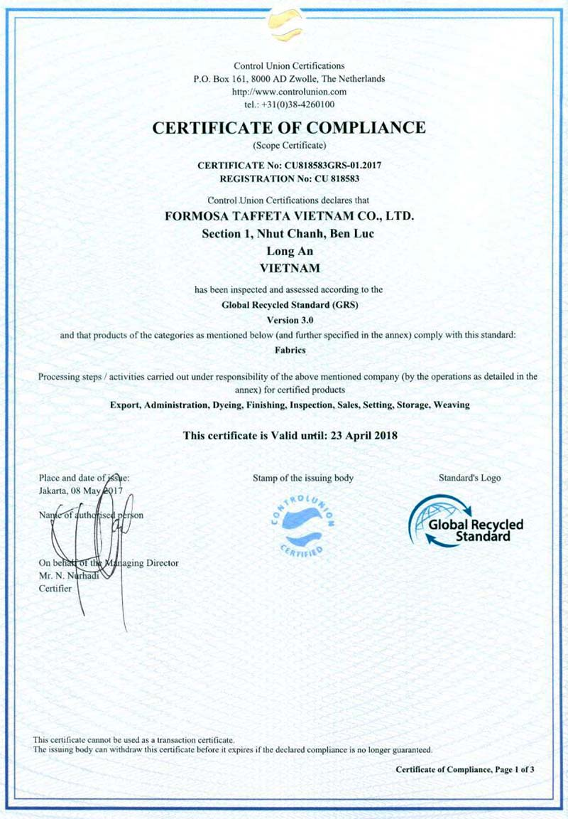 Global Recycle Standard Certificate for FTC Vietnam