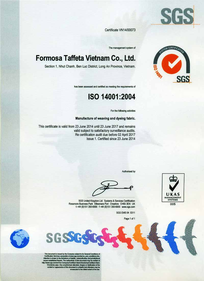 FTC SGS ISO 14001 Certificate for Vietnam Plant