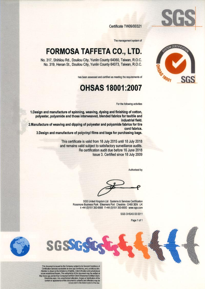 FTC OHSAS 18001 Certificate for Taiwan