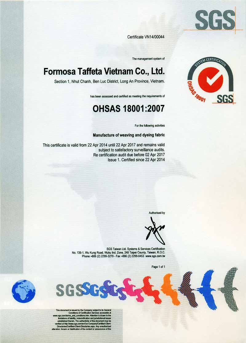 FTC OHSAS 18001 Certificate for Vietnam Plant